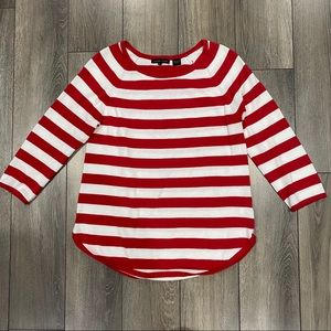 Jeanne Pierre (S) Red & White Striped Crew Sweater